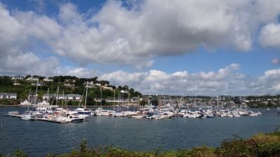 Picturesque Kinsale harbor with the town in the background